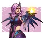 1girl atlantic_mercy blue_eyes crown_hair_ornament earrings jewelry lirain_(artist) mercy_(overwatch) necklace overwatch purple_hair wings