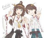 2girls ahoge anniversary black_eyes black_skirt brown_hair copyright_name detached_sleeves double_bun flipped_hair green_skirt grey_eyes hairband headgear hiei_(kantai_collection) kantai_collection kongou_(kantai_collection) kusakasima long_hair looking_at_viewer multiple_girls plaid plaid_skirt pleated_skirt remodel_(kantai_collection) ribbon-trimmed_sleeves ribbon_trim short_hair simple_background skirt smile white_background