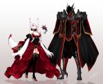 1girl 2others animal_ears armor black_armor black_collar black_legwear bow breasts cleavage collar dated detached_sleeves dress flower formal fur glowing glowing_eyes hair_over_one_eye high_heels indoors konshin large_breasts multiple_others neve_(pixiv_fantasia_last_saga) one_eye_closed pixiv_fantasia pixiv_fantasia_last_saga red_bow red_collar red_eyes signature standing suit thigh-highs white_background white_hair wings