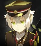 1boy black_headwear close-up closed_mouth expressionless eyebrows_visible_through_hair green_eyes hat highres hotarumaru kieed long_sleeves looking_at_viewer male_focus otoko_no_ko sheath sheathed short_hair solo sword touken_ranbu upper_body weapon white_hair
