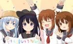 4girls :d ^_^ akatsuki_(kantai_collection) anchor_symbol arms_up bangs black_hair black_headwear black_sailor_collar blue_eyes blue_hair blush brown_eyes brown_hair chestnut_mouth closed_eyes closed_eyes closed_mouth commentary_request confetti double_w eyebrows_visible_through_hair fang flat_cap hair_between_eyes hair_ornament hairclip hat hibiki_(kantai_collection) holding ikazuchi_(kantai_collection) inazuma_(kantai_collection) kantai_collection long_hair miicha multiple_girls neckerchief open_mouth parted_lips pot_on_head red_neckwear remodel_(kantai_collection) sailor_collar school_uniform serafuku shirt smile sunburst_background translation_request twitter_username upper_body violet_eyes w white_shirt