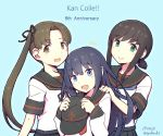 3girls akatsuki_(kantai_collection) anchor_symbol anniversary ayanami_(kantai_collection) black_hair black_sailor_collar black_skirt blue_background blue_eyes brown_eyes brown_hair copyright_name dated forehead fubuki_(kantai_collection) hat hat_removed headwear_removed kantai_collection long_hair looking_at_viewer low_ponytail multiple_girls nakaaki_masashi open_mouth pleated_skirt ponytail red_neckwear remodel_(kantai_collection) sailor_collar school_uniform serafuku short_ponytail side_ponytail sidelocks simple_background skirt smile twitter_username upper_body