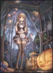 1girl absurdres bat bkyuuc black_dress black_legwear blonde_hair blush breasts broom brown_footwear candy clock commentary_request dress eyebrows_visible_through_hair food from_below full_body halloween highres holding lamp large_breasts long_hair looking_at_viewer original outdoors pink_eyes pumpkin smile solo thigh-highs twintails wolf