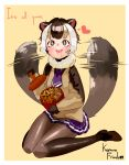 +_+ 1girl :d animal_ears blush brown_eyes brown_footwear brown_hair brown_legwear character_request commentary copyright_name drooling english_commentary english_text eyebrows_visible_through_hair fur_collar heart kemono_friends kyuushuu_flying_squirrel_(kemono_friends) mabbakmoe multicolored_hair necktie nut_(food) open_mouth pantyhose pleated_skirt purple_neckwear purple_skirt shoes short_hair simple_background sitting skirt smile solo squirrel_ears squirrel_tail tail tail_wagging upper_teeth wariza white_hair yellow_background