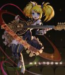 1girl absurdres bangs black_bow black_legwear black_sleeves blonde_hair blue_eyes boots bow copyright_name detached_sleeves doyoom eyebrows_visible_through_hair frilled_sleeves frills full_body hair_bow hair_ornament highres holding holding_instrument instrument kagamine_rin layered_skirt long_hair long_sleeves looking_at_viewer miniskirt multicolored multicolored_clothes multicolored_skirt open_mouth ribbon roshin_yuukai_(vocaloid) short_sleeves skirt solo sweatdrop swept_bangs thigh-highs twintails vocaloid white_bow white_footwear yellow_ribbon