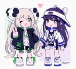 2girls ;d animal_ears animal_hat bangs black_jacket black_legwear black_shirt black_shorts blue_eyes blue_legwear blush blush_stickers bunny_hat captain_yue chibi closed_mouth clothes_writing eyebrows_visible_through_hair fake_animal_ears fang green_eyes hair_between_eyes hair_ornament hand_holding hat heart jacket light_brown_hair long_hair long_sleeves multiple_girls one_eye_closed open_clothes open_jacket open_mouth original panda_hair_ornament print_shirt puffy_long_sleeves puffy_sleeves purple_hair rabbit_ears shirt shoes short_shorts shorts sidelocks sleeves_past_wrists smile socks tongue tongue_out twintails twitter_username v-shaped_eyebrows very_long_hair visor_cap white_footwear white_headwear white_jacket white_shirt