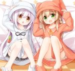 2girls :d animal_ears animal_hat animal_slippers bangs blush braid brown_dress brown_eyes brown_footwear brown_headwear bunny_hat bunny_slippers carrot checkered checkered_floor chestnut_mouth collared_dress commentary_request dress eyebrows_visible_through_hair fake_animal_ears food green_eyes hair_between_eyes hat knees_up light_brown_hair long_hair multiple_girls open_mouth original pillow purple_hair rabbit_ears side_braid single_braid sitting slippers smile star very_long_hair white_dress white_footwear white_headwear yuuhagi_(amaretto-no-natsu)