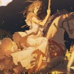 1girl black_background brown_eyes brown_hair carousel castle commentary_request dress ferris_wheel floating_hair gradient gradient_background long_dress looking_to_the_side open_mouth original pleated_dress rella riding sleeveless solo tears white_dress