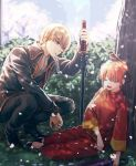 1boy 1girl against_tree animal animal_on_head bird bird_on_head black_footwear black_jacket black_pants brown_hair closed_umbrella day double_bun drooling from_side gintama holding holding_sword holding_umbrella holding_weapon jacket kagura_(gintama) long_sleeves mouth_hold okita_sougo on_head open_mouth orange_hair oriental_umbrella outdoors pants petals purple_umbrella red_eyes red_pants red_shirt shirt short_hair sitting sleeping sneezing squatting sword szzz_k tree umbrella weapon white_neckwear