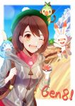 1girl 576352718 ;d backpack bag blue_sky brown_eyes brown_hair cinderella_girls_gekijou clouds collared_shirt creatures_(company) day female_protagonist_(pokemon_swsh) game_freak gen_8_pokemon green_headwear grey_cardigan grookey highres holding holding_poke_ball hood hood_down hooded_cardigan lens_flare nintendo one_eye_closed open_mouth outdoors poke_ball pokemon pokemon_(game) pokemon_on_head pokemon_on_shoulder pokemon_swsh red_shirt scorbunny shirt short_hair sky smile sobble solo standing upper_body wing_collar