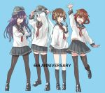 4girls ^_^ adjusting_clothes adjusting_hat akatsuki_(kantai_collection) anchor anchor_symbol anniversary badge black_footwear black_legwear black_sailor_collar blue_background brown_eyes brown_hair closed_eyes closed_eyes fang flat_cap folded_ponytail grey_eyes hair_between_eyes hair_ornament hairclip hand_on_own_chest hand_up hat hibiki_(kantai_collection) ikazuchi_(kantai_collection) inazuma_(kantai_collection) kantai_collection kneehighs leg_up loafers long_hair long_sleeves looking_at_viewer matsutani messy_hair multiple_girls neckerchief open_mouth pantyhose pleated_skirt purple_hair red_neckwear sailor_collar school_uniform serafuku shirt shoes short_hair silver_hair simple_background skirt smile standing thigh-highs violet_eyes white_serafuku white_shirt