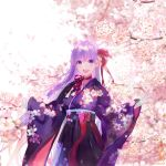 1girl :d bangs bb_(fate)_(all) bb_(fate/extra_ccc) blurry blush bow cherry_blossoms commentary_request cowboy_shot day depth_of_field eyebrows_visible_through_hair fate/grand_order fate_(series) floral_print hakama japanese_clothes kimono long_hair long_sleeves looking_at_viewer open_mouth outdoors pink_bow print_kimono purple_hair purple_hakama purple_kimono round_teeth shutsuri sleeves_past_wrists smile solo spring_(season) teeth tree twitter_username upper_teeth very_long_hair violet_eyes wide_sleeves