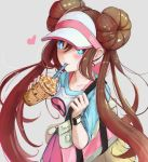 1girl artist_name bag blue_eyes blush breasts brown_hair collarbone commentary creatures_(company) double_bun drinking_straw game_freak gen_5_pokemon grey_background heart holding ippers long_hair medium_breasts mei_(pokemon) nintendo pantyhose pokemon pokemon_(creature) pokemon_(game) pokemon_bw2 simple_background smile twintails two-tone_background vanillite visor_cap white_background