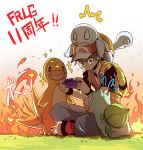 1boy backpack bag baseball_cap black_wristband brown_eyes brown_hair bulbasaur charmander commentary_request creature creatures_(company) fiery_tail fire flame frown full_body game_boy_advance game_freak gen_1_pokemon grass handheld_game_console hat hc2002 highres holding_handheld_game_console male_focus nintendo outdoors playing_games pokemon pokemon_(creature) pokemon_(game) pokemon_frlg red_(pokemon) red_headwear sitting sparkle spiky_hair squirtle sweat tail translation_request vs_seeker wristband