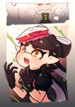 +_+ 1girl 2koma aori_(splatoon) artist_name black_dress black_gloves black_hair black_shirt brown_eyes closed_eyes collar comic commentary coula_cat cousins crop_top crying crying_with_eyes_open detached_collar domino_mask dress earrings fangs food food_on_head frown gloves grey_hair grin highres hotaru_(splatoon) jewelry long_hair mask mole mole_under_eye nintendo object_on_head open_mouth outstretched_arms pointy_ears puffy_short_sleeves puffy_sleeves shirt short_sleeves signature smile solo spiked_collar spikes splatoon splatoon_(series) splatoon_1 splatoon_2 strapless strapless_dress tako-san_wiener tears tentacle_hair upper_body white_gloves