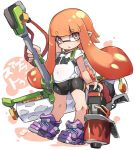 1girl bike_shorts black_shorts commentary_request domino_mask eyebrows_visible_through_hair full_body inkling karukan_(monjya) long_hair mask open_mouth orange_eyes orange_hair oversized_object paint_roller pointy_ears shirt shoes shorts simple_background sneakers solo splatoon_(series) t-shirt tentacle_hair weapon white_background white_shirt