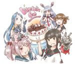 2others 5girls ;) ;3 animal animal_on_head bangs black_hair blue_eyes blue_gloves blue_hair brown_hair cake dress drooling elbow_gloves enemy_lifebuoy_(kantai_collection) english_text eyebrows_visible_through_hair folded_ponytail food fubuki_(kantai_collection) gloves green_eyes hair_bobbles hair_ornament hair_ribbon headgear inazuma_(kantai_collection) kantai_collection karasu_(naoshow357) long_hair long_sleeves looking_at_viewer low_ponytail multiple_girls multiple_others murakumo_(kantai_collection) necktie on_head one_eye_closed orange_eyes pink_eyes pink_hair rabbit red_neckwear remodel_(kantai_collection) rensouhou-chan ribbon sailor_dress samidare_(kantai_collection) sazanami_(kantai_collection) school_uniform serafuku sheep shirt short_eyebrows short_hair short_ponytail short_sleeves sidelocks silver_hair simple_background sleeveless sleeveless_shirt smile swept_bangs tress_ribbon twintails upper_body white_background white_gloves
