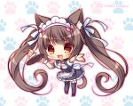 1girl :d animal_band_legwear animal_ear_fluff animal_ears bell black_dress black_legwear blush bow breasts brown_eyes brown_hair cake cat_band_legwear cat_ears cat_girl cat_tail chibi chocola_(sayori) collared_dress commentary_request dress food frilled_dress frills fruit full_body heart holding holding_tray jingle_bell long_hair maid_headdress medium_breasts nekopara open_mouth outstretched_arm paw_background pink_bow puffy_short_sleeves puffy_sleeves red_footwear ryuuka_sane shirt shoes short_sleeves sleeveless sleeveless_dress slice_of_cake smile solo standing strawberry tail thigh-highs tray twintails uniform very_long_hair waitress white_background white_shirt wrist_cuffs