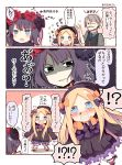 !? +_+ 1boy 2girls 3koma abigail_williams_(fate/grand_order) arms_up bangs black_bow black_dress black_eyes black_footwear black_headwear blonde_hair bloomers blue_eyes bow chibi comic commentary_request crying crying_with_eyes_open dress eyebrows_visible_through_hair facial_hair fate/grand_order fate_(series) forehead grey_hair hair_bow hair_ornament hat james_moriarty_(fate/grand_order) katsushika_hokusai_(fate/grand_order) long_hair long_sleeves matsushita_yuu multiple_girls mustache open_mouth orange_bow parted_bangs polka_dot polka_dot_bow purple_hair shaded_face shoes sleeves_past_fingers sleeves_past_wrists spoken_interrobang sweat tears underwear v-shaped_eyebrows very_long_hair wavy_mouth white_bloomers