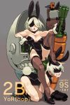 1boy 1girl alex_ahad all_fours animal_ears bare_shoulders basket black_footwear blush boots breasts bunnysuit character_name cleavage crossdressing drooling easter emil_(nier) fake_animal_ears gloves grey_background high_heels highres large_breasts leotard mole mole_under_mouth nier_(series) nier_automata parted_lips pod_(nier_automata) rabbit_ears reclining saliva short_hair silver_hair simple_background sitting stepped_on thigh-highs yorha_no._2_type_b yorha_no._9_type_s