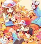 1boy 1girl alternate_color baseball_cap black_wristband blue_(pokemon) brown_eyes brown_hair creatures_(company) eevee game_freak gen_1_pokemon hat long_hair lying nintendo on_stomach pokemon pokemon_(game) pokemon_frlg porkpie_hat red_(pokemon) red_headwear rikovui shiny_pokemon stuffed_toy white_headwear wristband