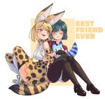 2girls :d animal_ear_fluff animal_ears bare_shoulders black_gloves black_legwear blonde_hair blush brown_eyes closed commentary elbow_gloves english_commentary english_text extra_ears eyebrows_visible_through_hair full_body gloves green_hair highres japari_symbol kaban_(kemono_friends) kemono_friends legwear_under_shorts locked_arms lucky_beast_(kemono_friends) mabbakmoe multiple_girls open_mouth pantyhose print_gloves print_legwear print_neckwear red_shirt serval_(kemono_friends) serval_ears serval_print serval_tail shirt short_hair shorts simple_background sitting sleeveless sleeveless_shirt smile tail thigh-highs upper_teeth white_shirt