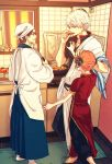 1girl 2boys apron asymmetrical_sleeves barefoot black_pants black_shirt blue_hakama brown_hair china_dress chinese_clothes collarbone cooking double_bun dress earrings gintama glasses hakama hand_on_another's_head holding holding_knife indoors japanese_clothes jewelry kagura_(gintama) kimono knife long_sleeves multiple_boys orange_hair pants pants_under_dress red_dress red_eyes sakata_gintoki shimura_shinpachi shirt short_hair short_sleeves silver_hair standing szzz_k white_apron white_kimono