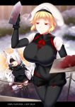 2girls animal_ears black_gloves black_legwear black_scarf blindfold blonde_hair breasts chestnut_mouth claws copyright_name covered_navel facing_another gloves gresta_vaughin hand_up konshin large_breasts long_hair looking_at_viewer multiple_girls neve_(pixiv_fantasia_last_saga) outdoors pantyhose pixiv_fantasia pixiv_fantasia_last_saga red_eyes scarf short_hair smile standing tail thigh-highs white_hair white_headwear wolf_tail