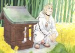 1boy bug butterfly choker collar forest highres hood hoodie insect jacket looking_at_another looking_up male_focus nansen_ichimonji nature open_clothes open_jacket outdoors pants sandals smile squatting sweatpants touken_ranbu traditional_media tree watercolor_(medium)