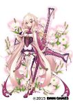 1girl blush copyright_name crescent crescent_hair_ornament dmm eyes_visible_through_hair floral_background flower flower_knight_girl full_body hair_between_eyes hair_flower hair_ornament hairclip hand_on_own_chest highres holding holding_weapon long_hair long_sleeves looking_at_viewer object_namesake oenothera_(flower_knight_girl) official_art pink_hair solo standing striped thigh-highs vertical_stripes very_long_hair violet_eyes weapon white_background yuui_hutabakirage