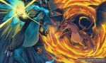 charizard claws commentary creature creatures_(company) dragon eye_contact fire flying game_freak gen_1_pokemon looking_at_another mega_charizard_x mega_charizard_y mega_pokemon nintendo no_humans pokemon pokemon_(creature) sei_(seiryuuden)