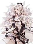 1girl armor bare_shoulders black_bow bow breasts buckle cleavage drag-on_dragoon drag-on_dragoon_3 flower gauntlets holding holding_sword holding_weapon jiayue_wu navel one_eye_covered pink_eyes pink_flower pink_lips simple_background solo sword upper_body vambraces weapon white_background white_flower zero_(drag-on_dragoon)