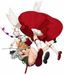 2girls :d ascot ass bangs belt black_belt black_neckwear black_ribbon black_skirt blonde_hair blood blood_from_mouth bloomers blue_eyes breasts clenched_teeth commentary eye_contact face-to-face fang flandre_scarlet full_body glowing glowing_eyes gotoh510 green_skirt green_vest hair_between_eyes hair_ribbon highres holding holding_sword holding_weapon katana konpaku_youmu leg_strap leg_up looking_at_another miniskirt multiple_girls neck_ribbon no_hat no_headwear open_mouth profile puffy_short_sleeves puffy_sleeves red_eyes red_footwear red_skirt red_vest reflection ribbon shirt shoes short_hair short_sleeves silver_hair simple_background skirt skirt_set small_breasts smile socks sword teeth thighs touhou underwear v-shaped_eyebrows vest weapon white_background white_bloomers white_legwear white_shirt wrist_cuffs yellow_neckwear