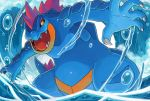 claws commentary creature creatures_(company) english_commentary feet_out_of_frame feraligatr game_freak gen_2_pokemon nintendo no_humans open_mouth pokemon pokemon_(creature) sei_(seiryuuden) sharp_teeth solo standing teeth water waves yellow_eyes