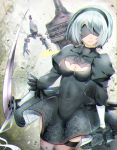 1girl bangs black_dress black_gloves black_hairband black_legwear blindfold bob_cut breasts chains cleavage cleavage_cutout closed_mouth covered_collarbone covered_eyes covered_navel cowboy_shot dress drone erect_nipples gloves hairband highres katana medium_breasts mole mole_under_mouth nier_(series) nier_automata pod_(nier_automata) short_hair silver_hair sleeves_past_elbows sword thigh-highs thigh_strap turtleneck vambraces weapon yorha_no._2_type_b yuduki_(tt-yuduki)
