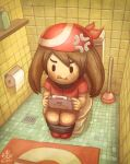 1girl absurdres bathroom brown_hair commentary creatures_(company) english_commentary game_boy_advance game_freak handheld_game_console haruka_(pokemon) highres holding holding_handheld_game_console indoors long_hair nintendo playing_games pokemon pokemon_(game) pokemon_rse ry-spirit signature sitting sitting_on_object solo toilet toilet_paper tongue tongue_out wall