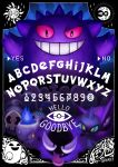 absurdres alphabet blue_fire creature creatures_(company) duskull english_text fangs fire flame game_freak gastly gen_1_pokemon gen_3_pokemon gen_4_pokemon gen_5_pokemon gen_6_pokemon gengar ghost grin haunter highres honedge litwick looking_at_viewer lunatone nintendo no_humans ouija pink_eyes pokemon pokemon_(creature) pokemon_tower_ghost ry-spirit shuppet signature smile solrock spiritomb tomb tongue tongue_out yellow_eyes