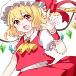 1girl absurdres bangs blonde_hair blush bow chiyori_(soleilandiris) commentary_request cowboy_shot eyebrows_visible_through_hair flandre_scarlet hat hat_bow highres mob_cap open_mouth raised_eyebrows red_bow red_eyes red_skirt red_vest shirt short_sleeves simple_background skirt smile solo touhou vest white_background white_headwear white_shirt wings wrist_cuffs yellow_neckwear