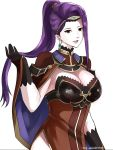 1girl absurdres asymmetrical_hair black_gloves breasts brown_eyes circlet cleavage cloak earrings fire_emblem fire_emblem_echoes:_mou_hitori_no_eiyuuou fire_emblem_heroes gloves highres jewelry nintendo open_mouth playing_with_own_hair purple_hair side_slit sonia_(fire_emblem_gaiden) the_kingduke white_background