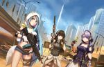 3girls armband assault_rifle asymmetrical_gloves bangs bird black_eyes black_hair blue_hair breasts bubble_blowing building chewing_gum choker cityscape clothes_around_waist commentary crossover day double-breasted english_commentary girls_frontline gloves green_hair gun hanged highres holding holding_gun holding_weapon hood jacket_around_waist lamppost large_breasts long_hair m249 m249_saw_(girls_frontline) m4_carbine m4a1_(girls_frontline) machine_gun medium_breasts multicolored_hair multiple_girls ndtwofives noose outdoors parody ribbed_sweater rifle sand sky spec_ops_the_line steyr_scout_(girls_frontline) streaked_hair sweater swept_bangs thigh_strap very_long_hair weapon yellow_eyes