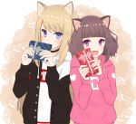 2girls :d animal_ears bangs black_jacket blonde_hair blue_eyes blunt_bangs box brown_hair cat_ears choker dog_ears fang gift gift_box hood hood_down jacket kmnz long_hair mc_lita mc_liz multiple_girls open_mouth pink_hoodie short_hair smile valentine violet_eyes virtual_youtuber waka_(waka_matsuri) white_hoodie