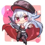 azur_lane cape chibi graf_zeppelin_(azur_lane) gun hat military military_uniform pantyhose peaked_cap pointing red_eyes seele0907 silver_hair sweatdrop uniform weapon younger zeppelin-chan_(azur_lane)