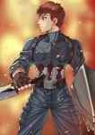 1boy absurdres avengers belt blue_pants brown_gloves captain_america captain_america_(cosplay) cosplay embers emiya_shirou fate/grand_order fate/stay_night fate_(series) fingerless_gloves fire gloves highres holding holding_sword holding_weapon kanshou_&_bakuya looking_to_the_side magic_circuit marvel nanni_jjang pants redhead scratches shield solo star sword weapon yellow_eyes