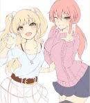 2girls :d ;d bangs belt blonde_hair bracelet breasts brown_belt collarbone earrings eyelashes fang fingernails grin hand_up idolmaster idolmaster_cinderella_girls idolmaster_cinderella_girls_starlight_stage jewelry jougasaki_mika jougasaki_rika long_hair long_sleeves looking_at_viewer miniskirt multiple_girls necklace one_eye_closed open_mouth pale_color pink_hair pleated_skirt ryuu. skirt smile star star_necklace two_side_up w yellow_eyes