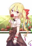 1girl absurdres alternate_costume arm_at_side arm_up black_neckwear blonde_hair blouse bow breasts brown_skirt clouds covering_mouth cowboy_shot crystal eyebrows_visible_through_hair flandre_scarlet flower from_side hair_between_eyes hair_bow head_tilt highres iyo_(ya_na_kanji) layered_skirt light_rays neck_ribbon no_hat no_headwear pointy_ears puffy_short_sleeves puffy_sleeves red_eyes red_flower red_rose ribbon rose short_hair short_sleeves side_ponytail skirt small_breasts solo standing sunbeam sunlight touhou white_blouse wings wrist_cuffs yellow_sky