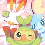 artist_name blush closed_eyes clover creatures_(company) flower game_freak gen_8_pokemon grookey highres hyan_rei nintendo no_humans pink_background pokemon pokemon_(creature) scorbunny simple_background smile sobble