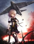 1girl aircraft airplane bomb bomber cargo_aircraft chinese_commentary clouds cloudy_sky commentary_request explosion fire forest girls_frontline gun highres kriss_vector military military_vehicle nature parachute shumeia sky smoke solo submachine_gun suppressor vector_(girls_frontline) weapon