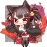 akagi-chan_(azur_lane) animal_ears azur_lane brown_eyes brown_hair chibi fox_ears fox_girl fox_tail japanese_clothes kyuubi multiple_tails seele0907 tail younger