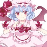 1girl absurdres bat_wings blush bow chiyori_(soleilandiris) commentary_request cowboy_shot dress dress_bow eyebrows_visible_through_hair hat hat_bow highres light_blue_hair looking_at_viewer mob_cap pink_dress raised_eyebrows red_bow red_eyes remilia_scarlet short_sleeves simple_background smile solo touhou white_background wings wrist_cuffs