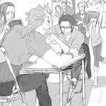 6+boys :d akai_suzaku arm_wrestling bandaid bandaid_on_face glasses greyscale haramaki idolmaster idolmaster_side-m kimura_ryuu kuroka_wa kurono_genbu kuzunoha_amehiko long_hair male_focus mizushima_saki monochrome multiple_boys open_mouth ponytail shingen_seiji shinsoku_ikkon smile twintails watanabe_minori |_|